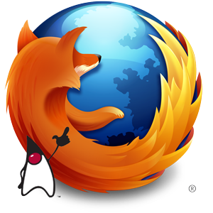 Java Duke image imposed on Firefox logo, pointing at the fox